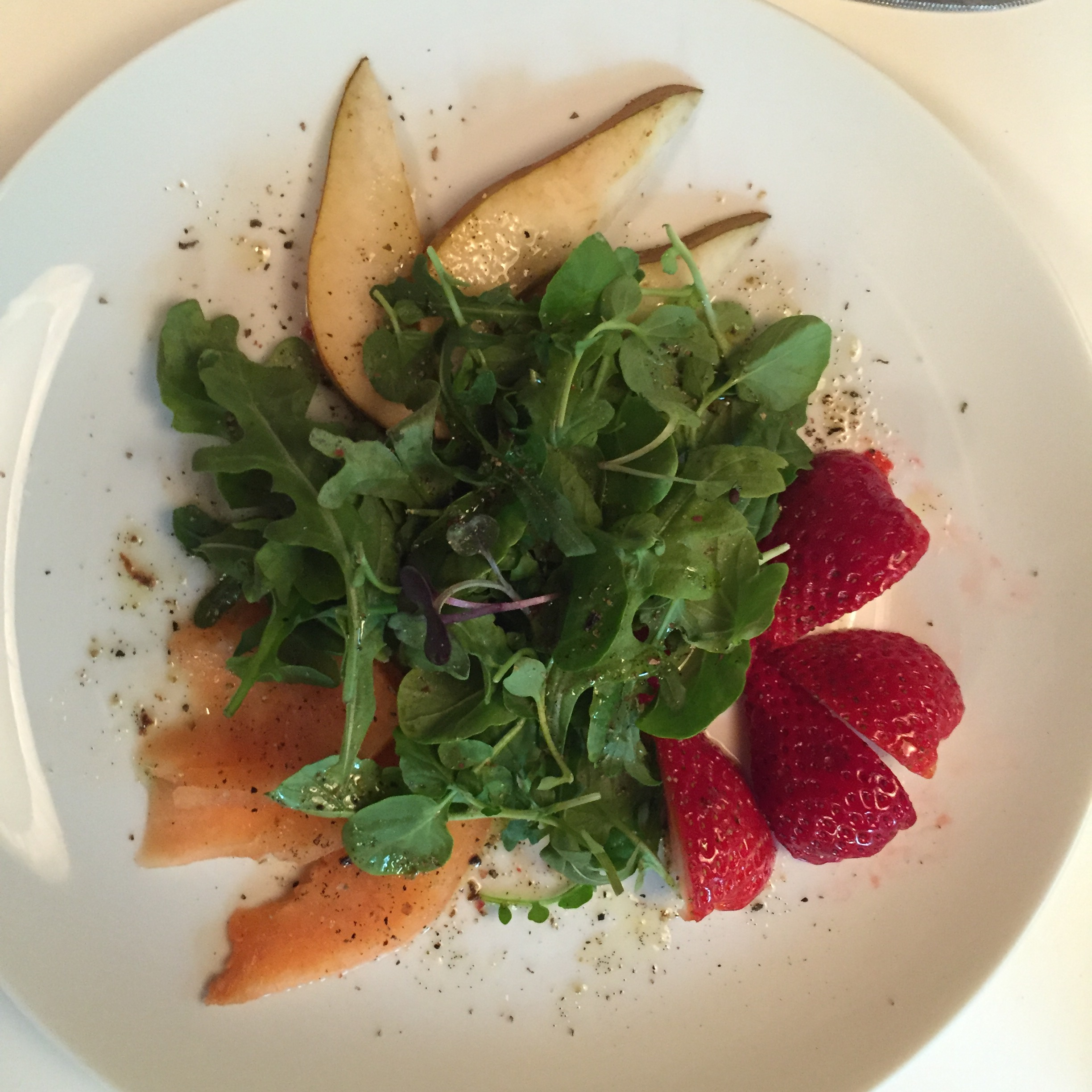 Summer Fruit with Arugula, Wild Watercress, and Black Pepper-Vanilla Bean Vinaigrette