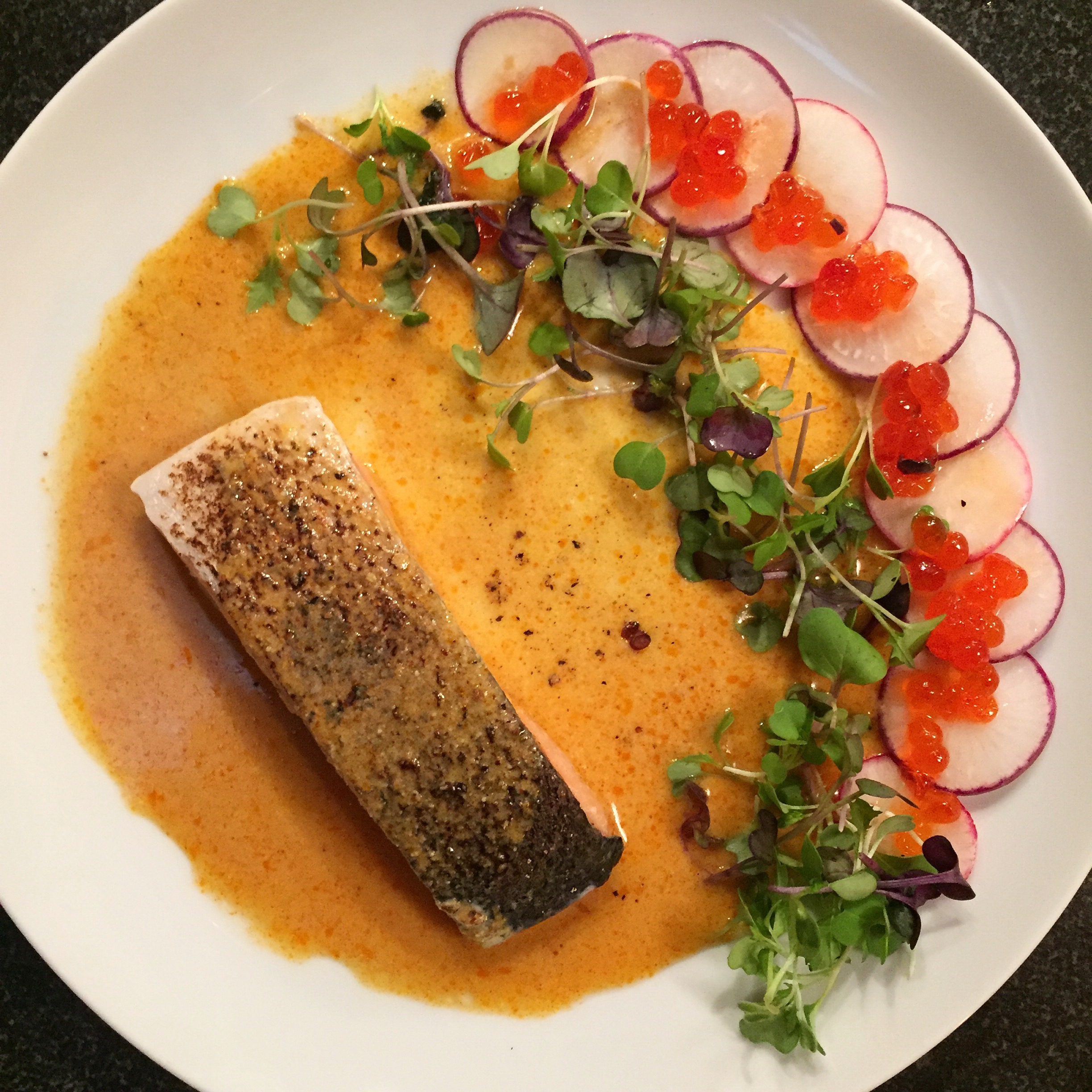 Sous Vide Salmon and Salmon Roe with Coconut Red Curry