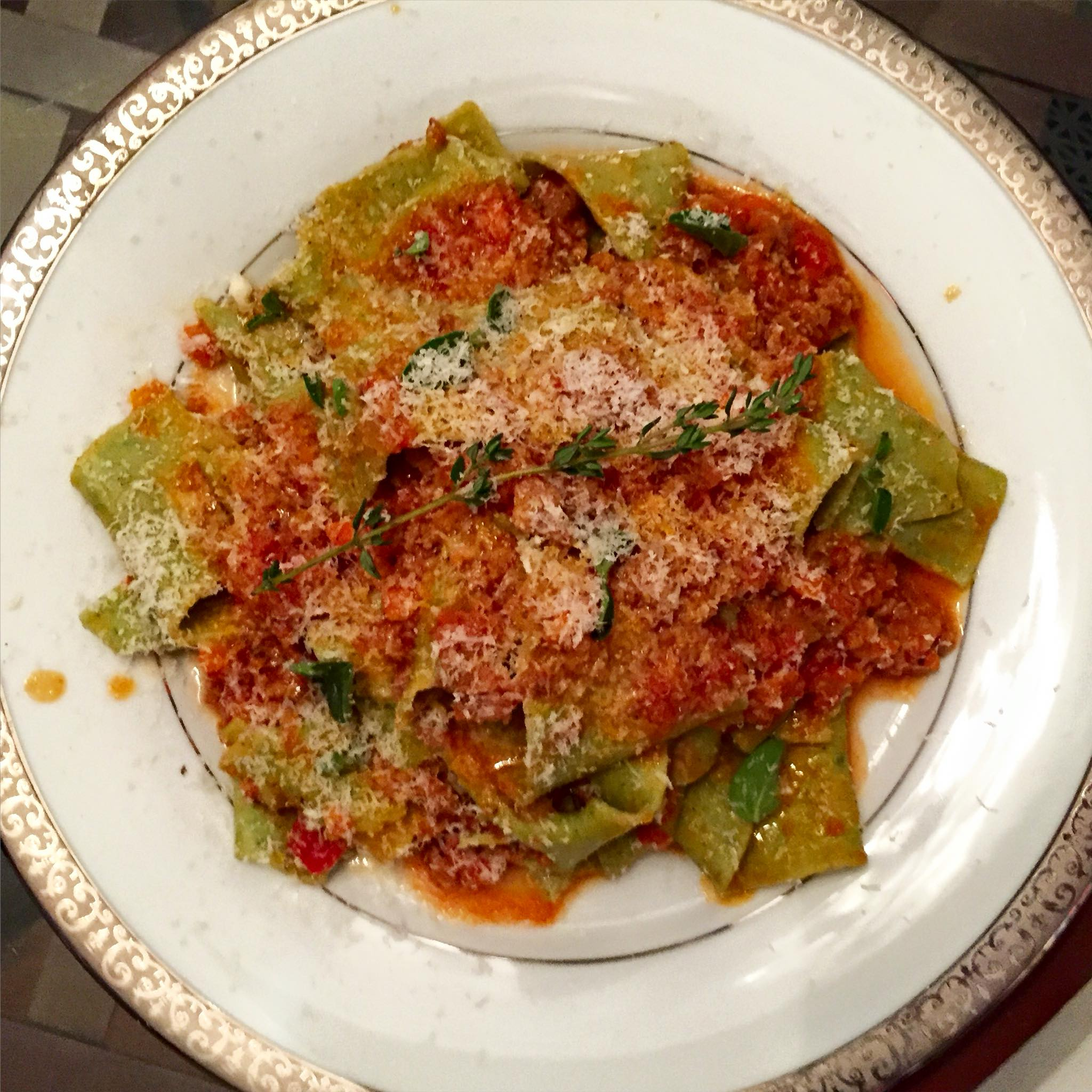 Handmade Spinach Pappardelle in Sage Sausage Sauce
