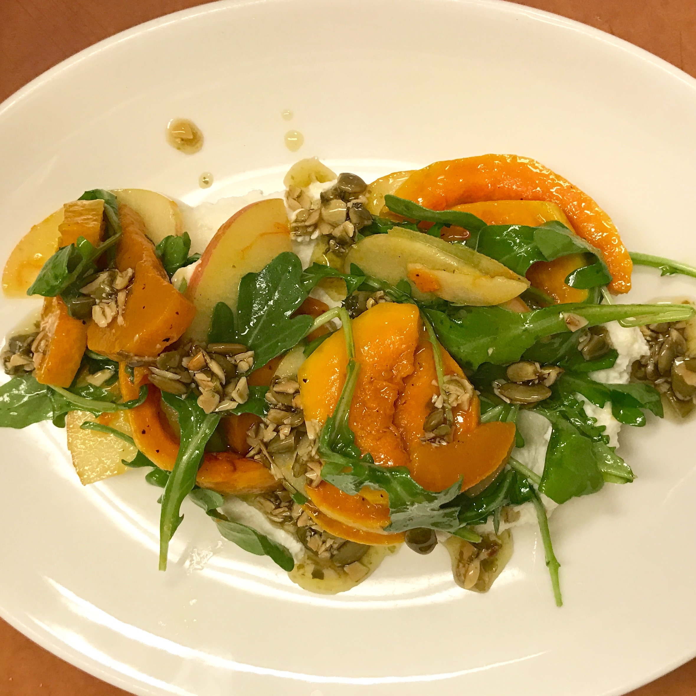 Organic Carnival Squash, Arugula, Ricotta, and Pumpkin Seed with Cider Vinaigrette